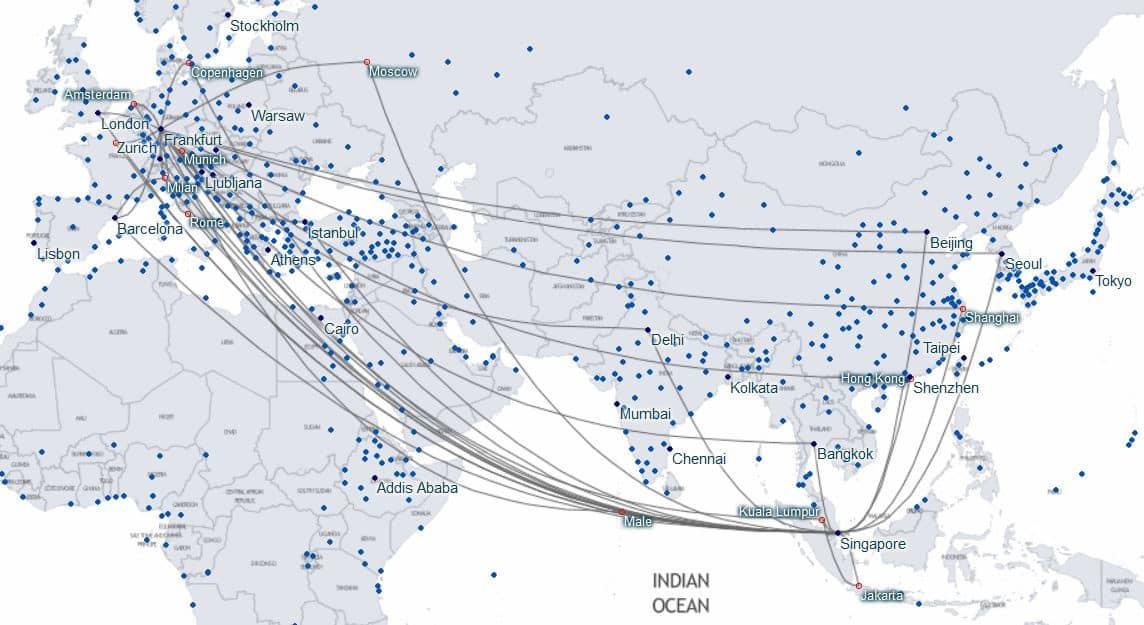karte staralliance verbindungen frankfurt singapur