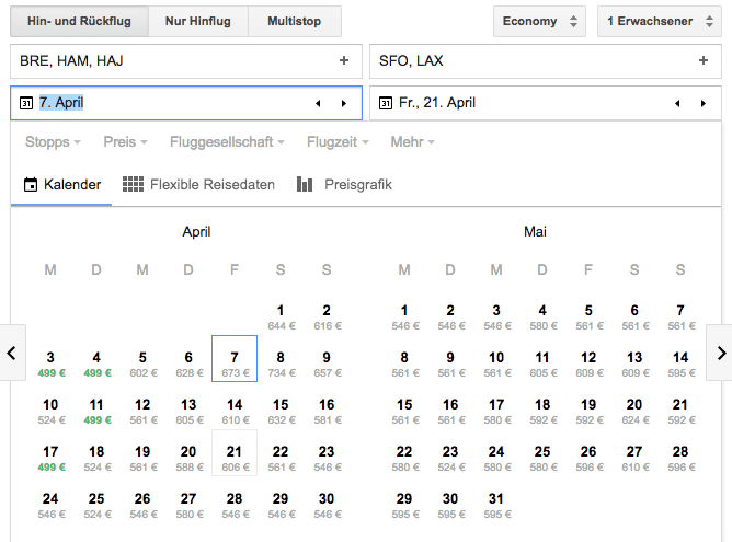 google flights calender 1