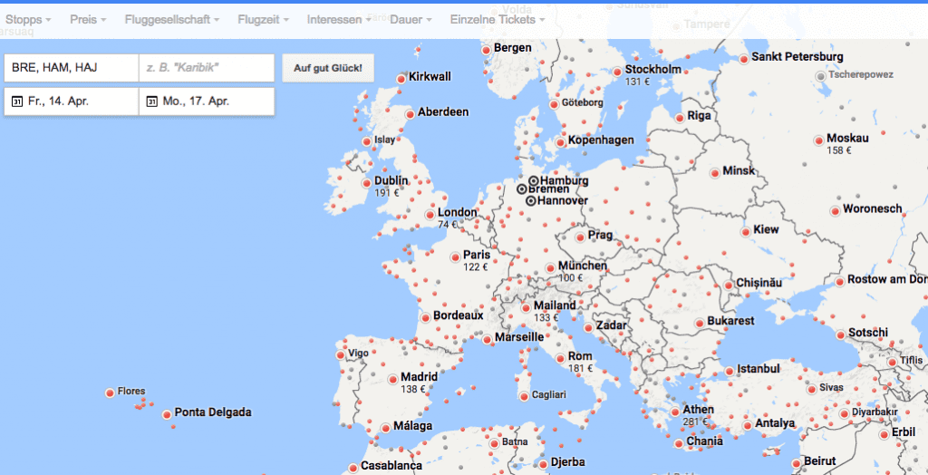 google flights europa
