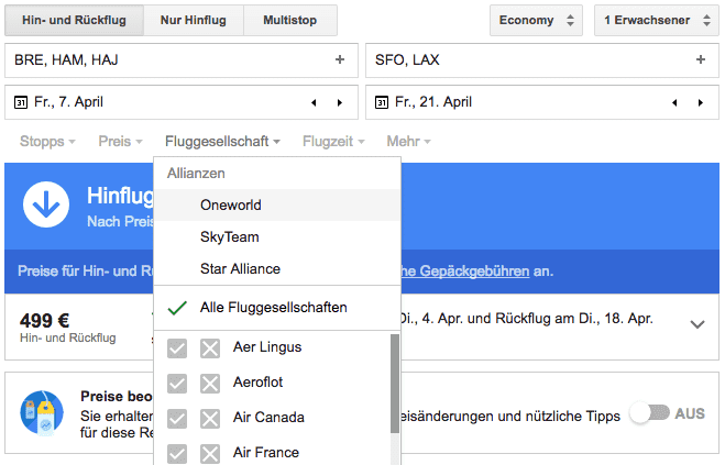 google flights flugallianzen