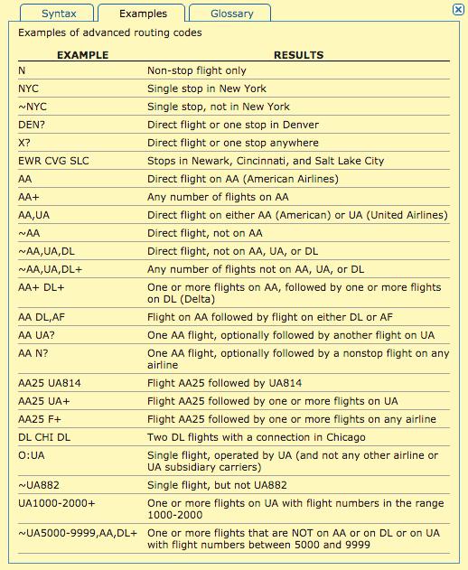 ita matrix advanced routing codes 4