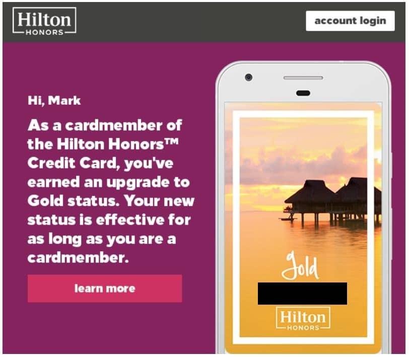 Hilton Honors Kreditkarte Gold Status Screenshot