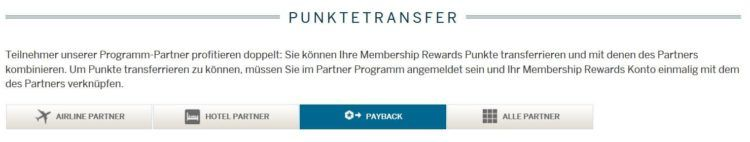 american express punktetransfer