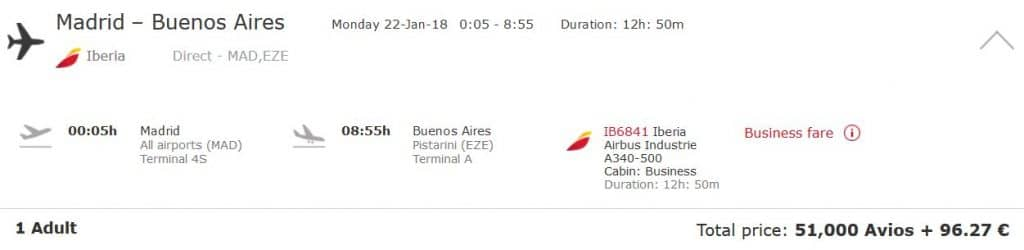 iberia plus business class madrid buenos aires
