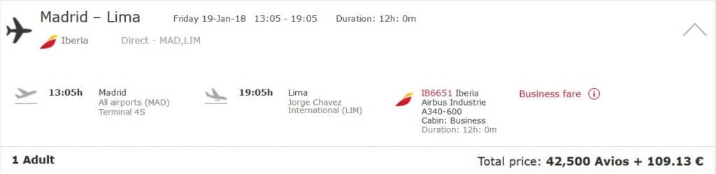 iberia plus business class madrid lima