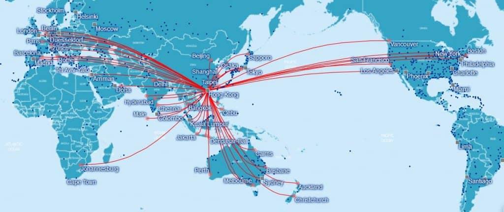 cathay pacific verbidnungen ab hongkong