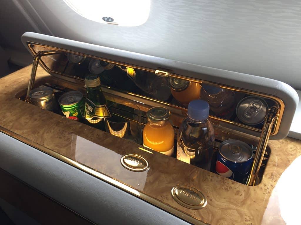 emirates first class a380 minibar