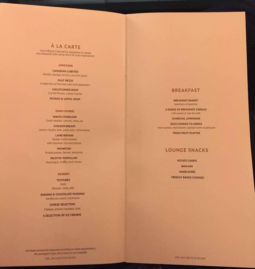 etihad first class apartment essen menu