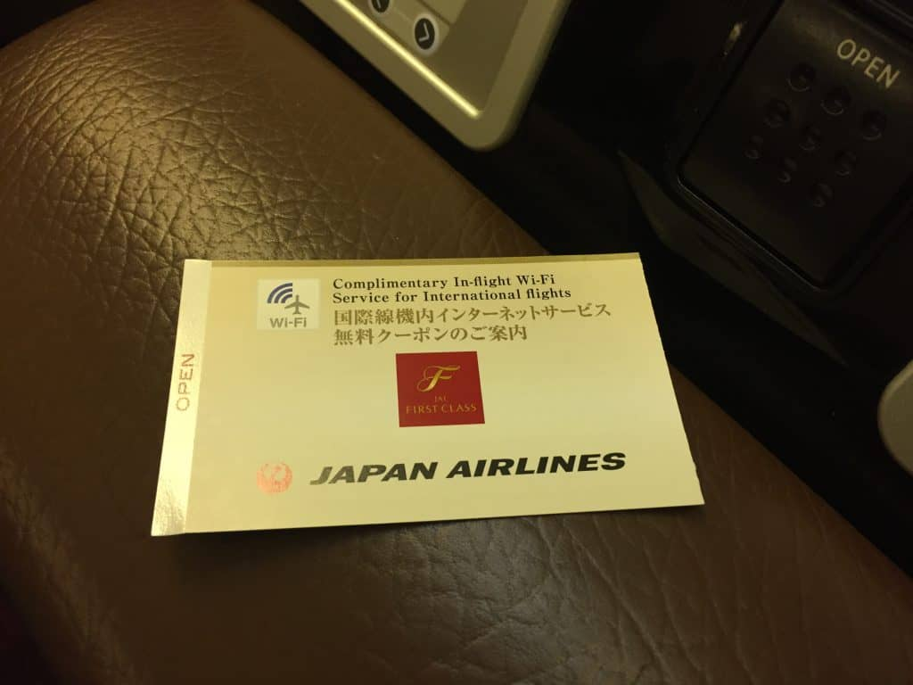 Japan Airlines First Class Internet Gutschein