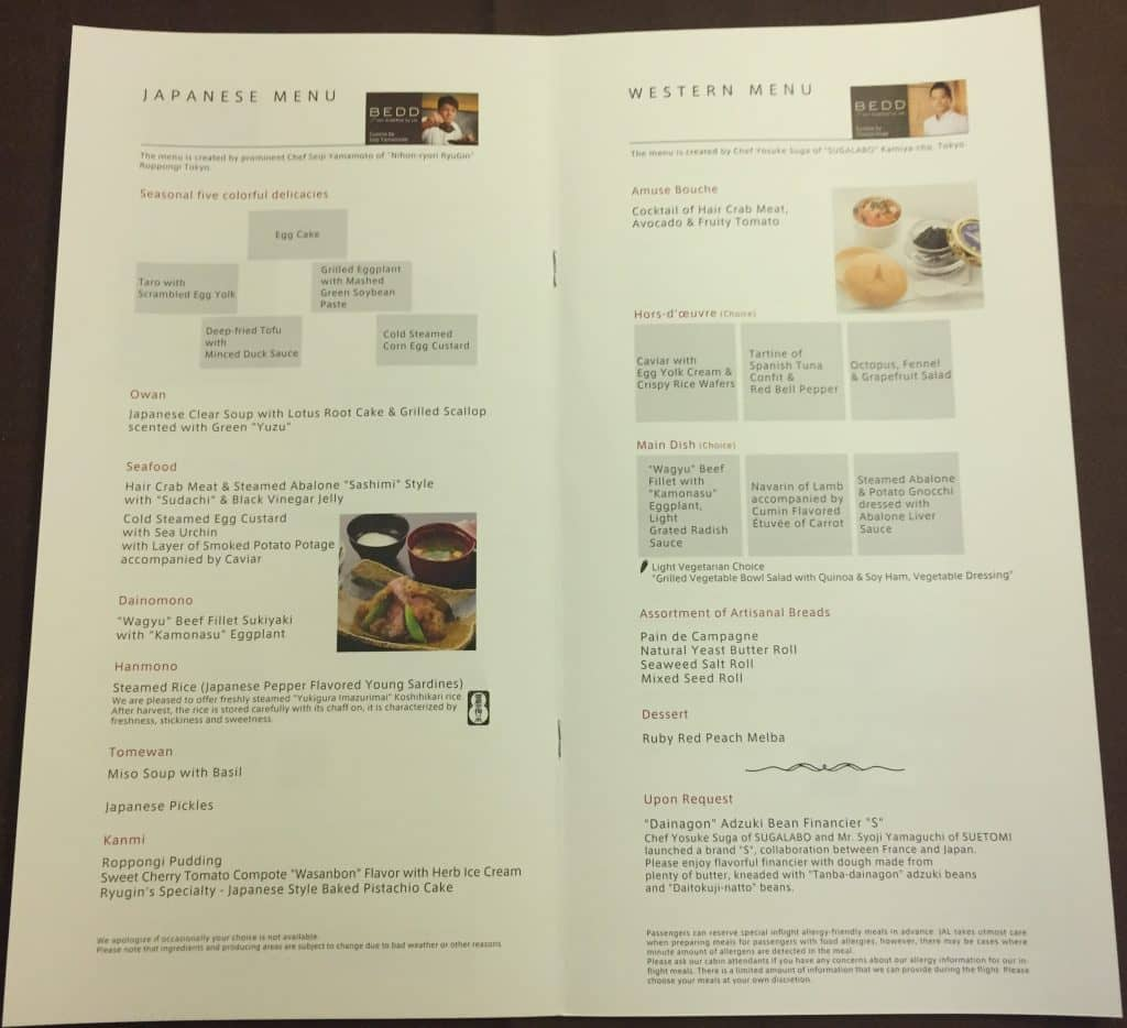 japan airlines first class boeing 777 menu 0