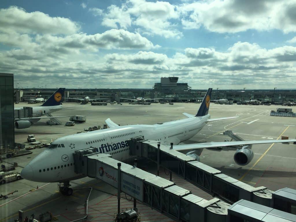 Die Lufthansa Boeing 747-8 bei Ankunft in Frankfurt