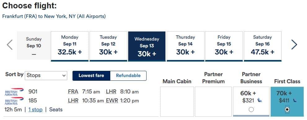 mileage plan british airways first class frankfurt new york