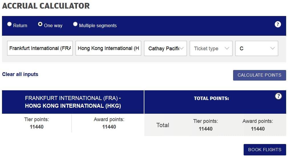 finnair plus meilenrechner cathay pacific frankfurt hongkong