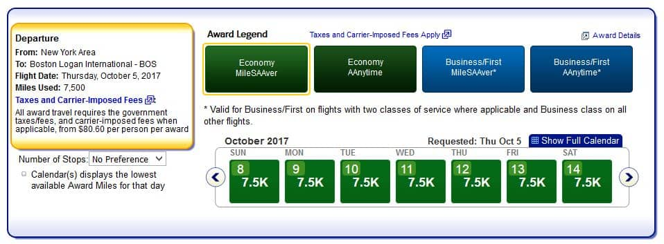 aadvantage pramienflug economy class boston new york
