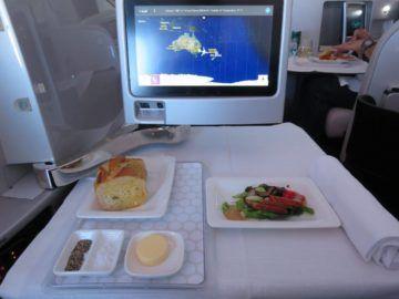 air new zealand business class boeing 777 200 essen vorspeise