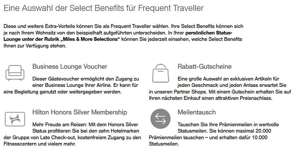 Select Benefits für Frequent Traveller