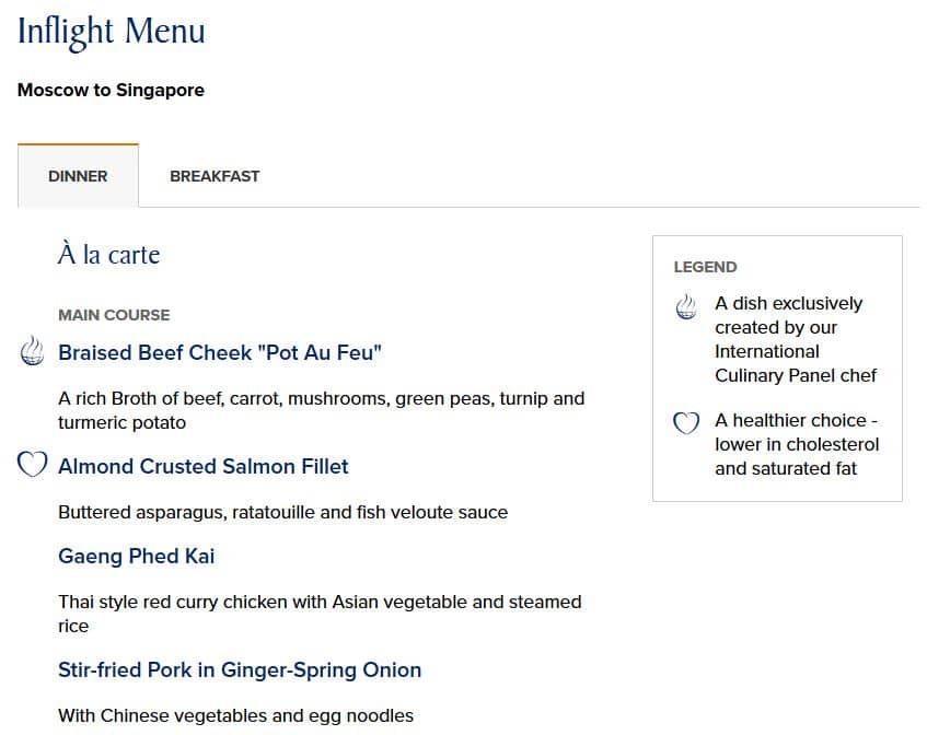 singapore airlines inflight menu dinner moskau singapur