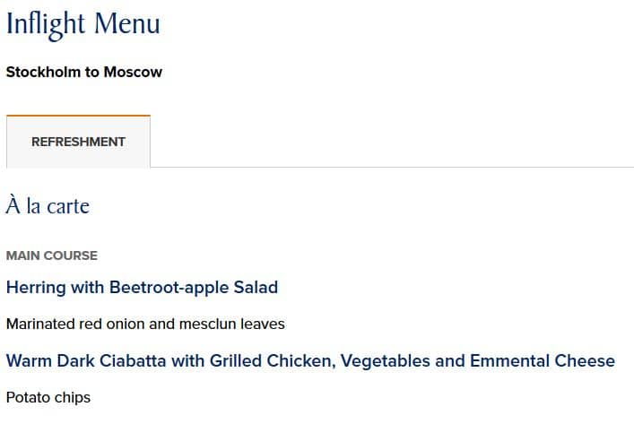 singapore airlines inflight menu stockholm moskau