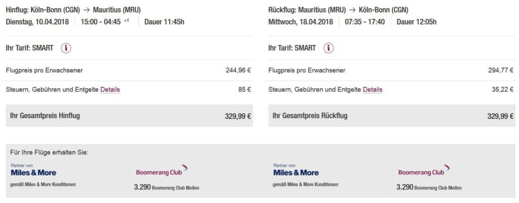 eurowings boomerang club pramienflug koln mauritius 2