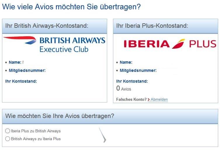 executive club avios zu iberia plus ubertragen