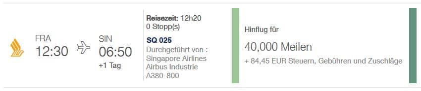 miles and more pramienflug singapore airlines frankfurt singapur