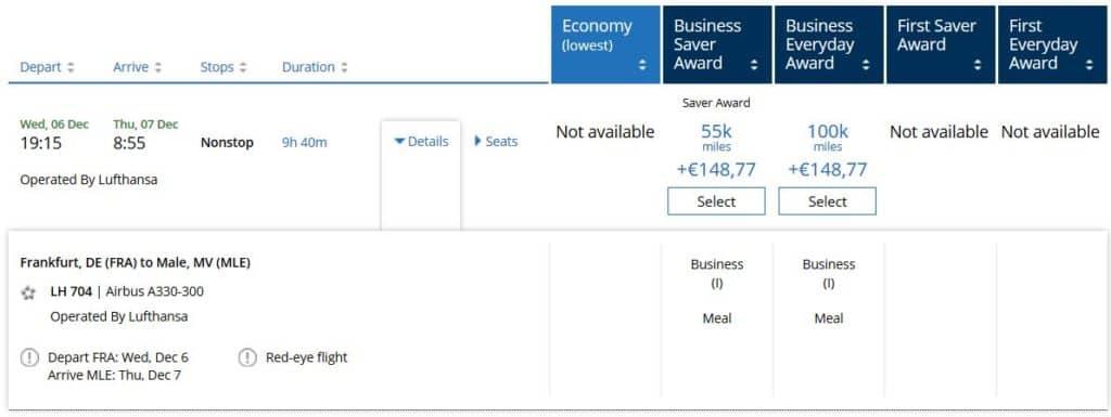 united mileage plus praemienflug lufthansa business frankfurt malediven