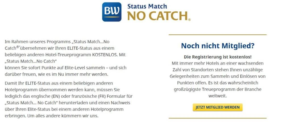best western rewards statusmatch no catch