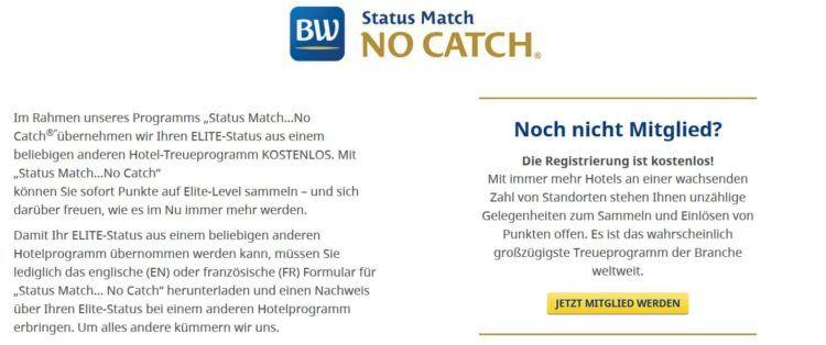 best western rewards statusmatch no catch
