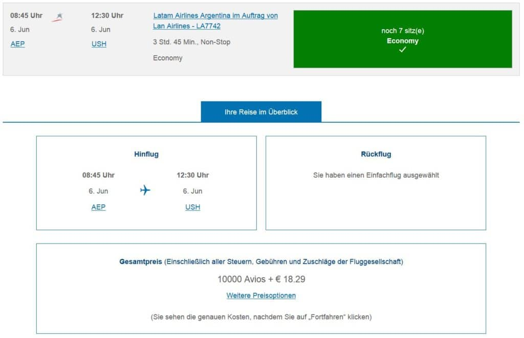 executive club praemienflug latam buenos aires ushuaia
