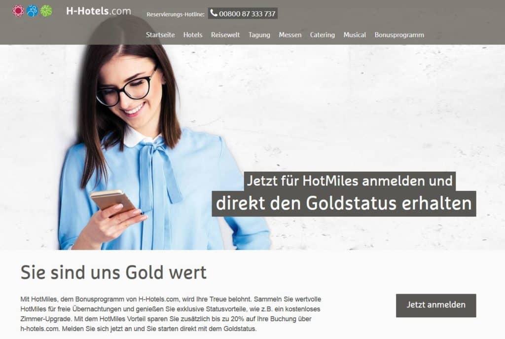 hhotels goldstatus bei anmeldung