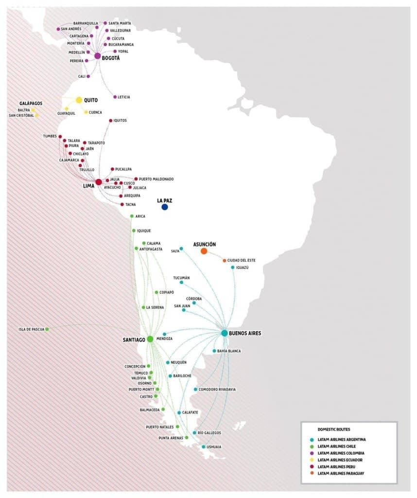 latam streckennetz sudamerika