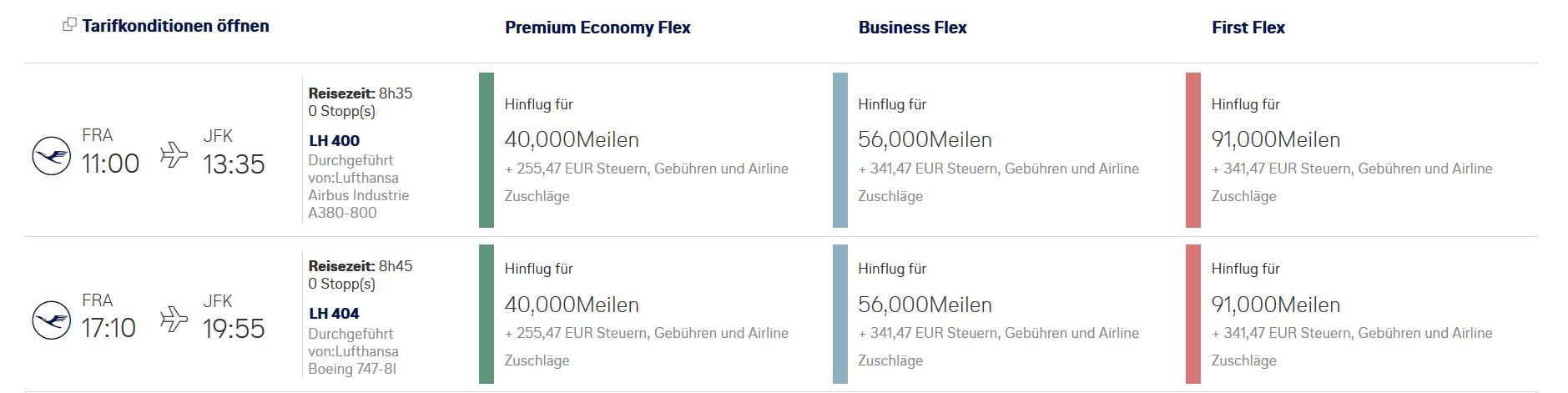 First Class Verfügbarkeiten der Lufthansa nach New Yoak bei Miles & More