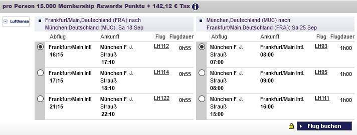 American Express Membership Rewards Praemienflug Frankfurt Muenchen