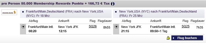 American Express Membership Rewards Praemienflug Singapore Airlines Frankfurt New York