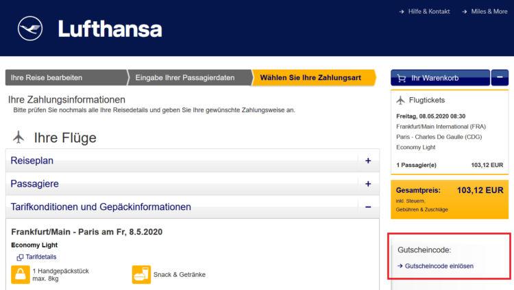 Lufthansa Gutschein Einloesen