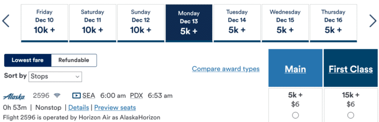 Mileage Plan Praemienflug Alaska Airlines Sea Pdx