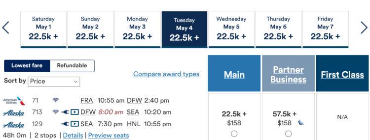 Mileage Plan Praemienflug American Airlines Alaska Airlines Fra Hnl