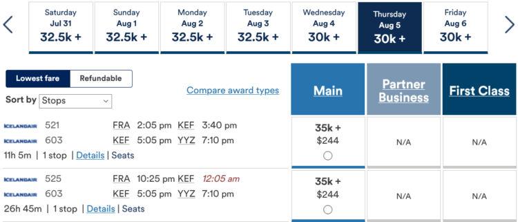 Mileage Plan Praemienflug Icelandair Fra Kef Yyz