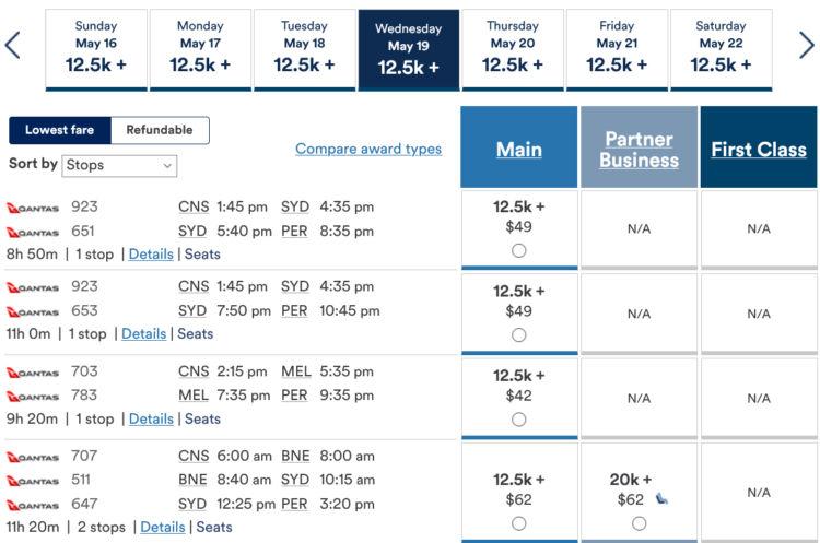 Mileage Plan Praemienflug Qantas Cns Per