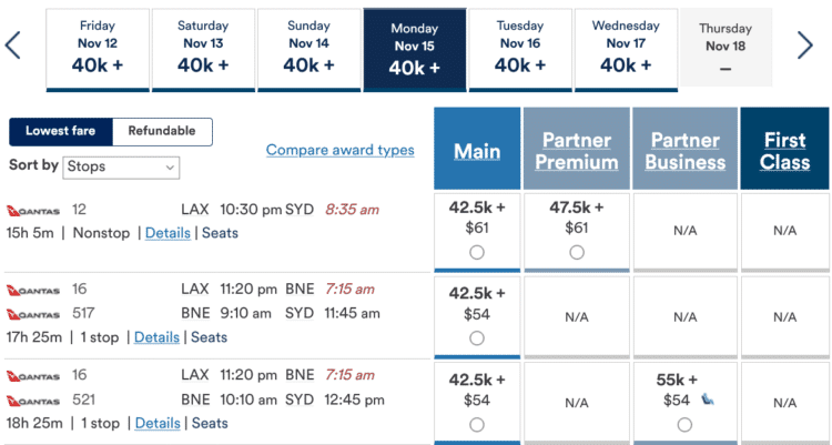 Mileage Plan Praemienflug Qantas Lax Syd