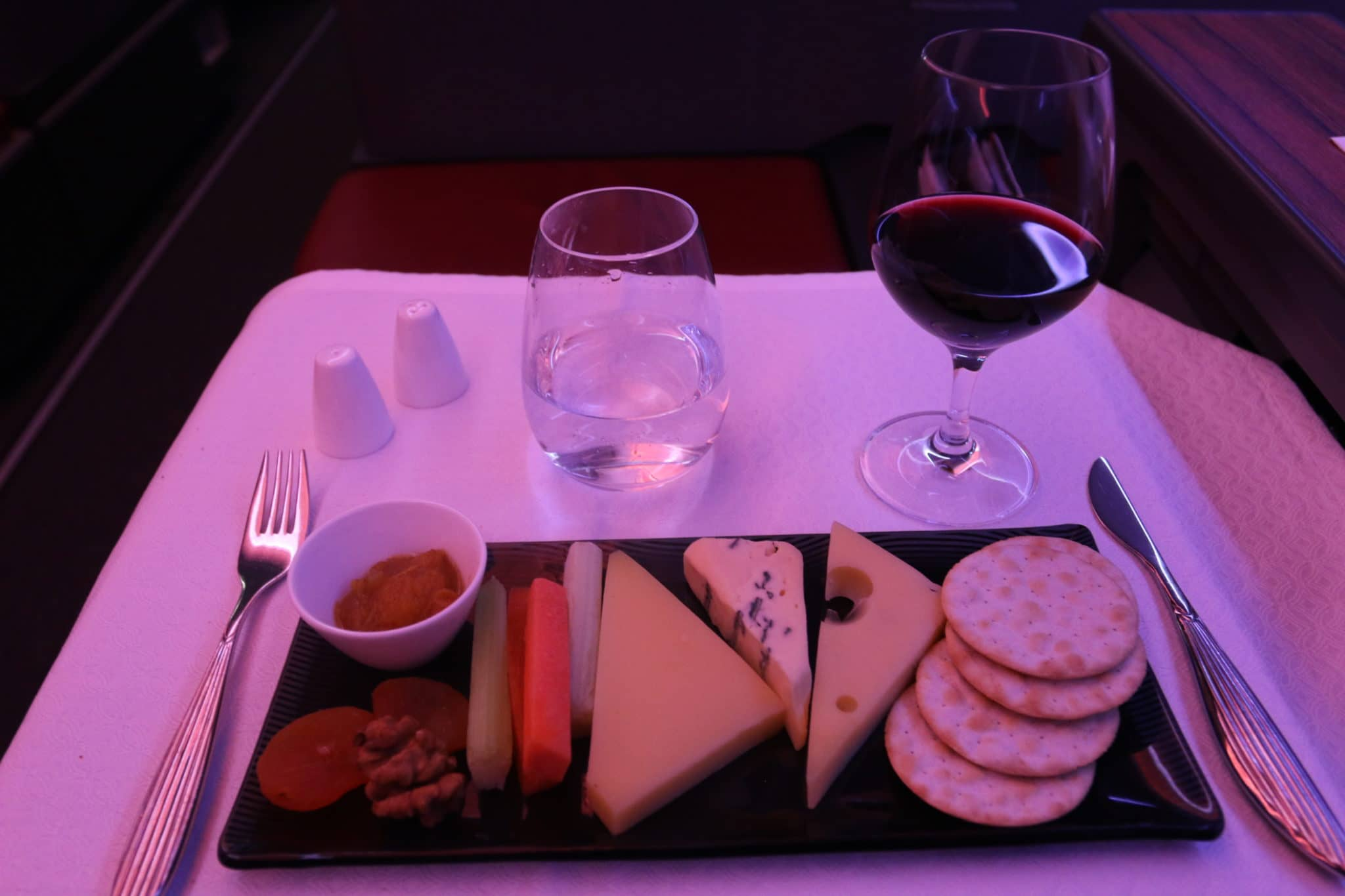 qatar airways business class a350 cheese plate