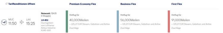 Miles And More Praemienflug Lufthansa First Class Muc Lax
