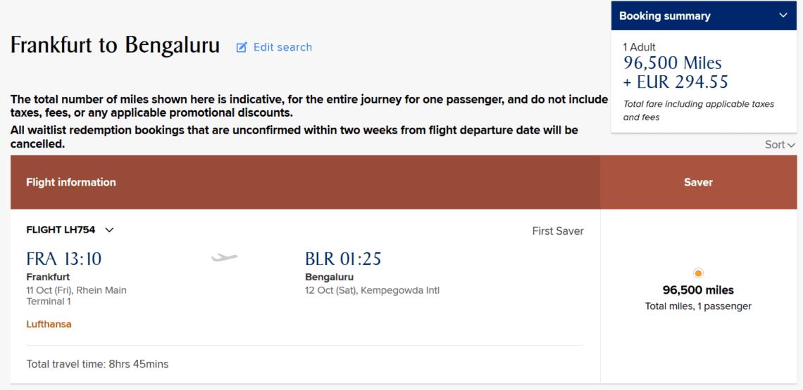 krisflyer praemienflug lufthansa first class frankfurt bangalore