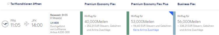 Miles And More Praemienflug Lufthansa Business Class Fra Jkf