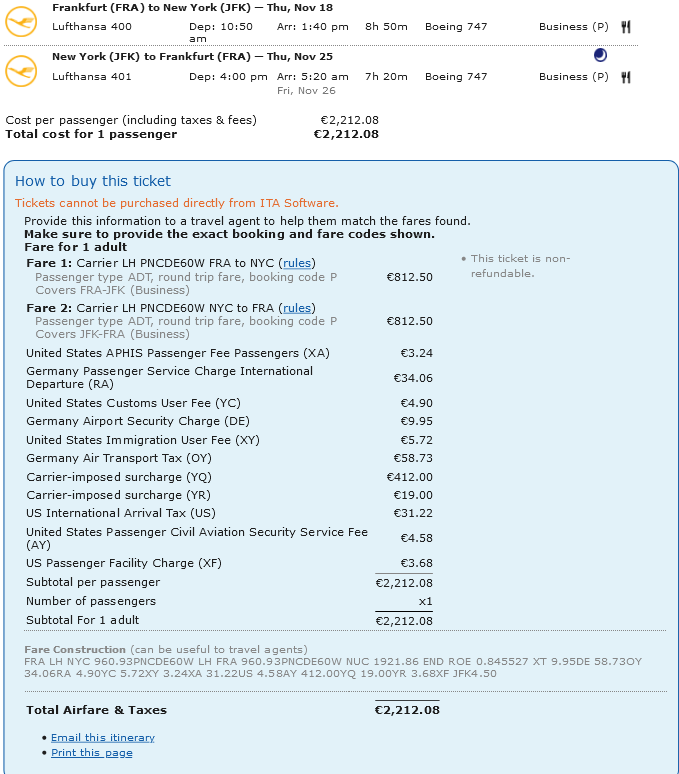 Steuern Gebuehren Ita Matrix Lufthansa Business Class Fra Jkf