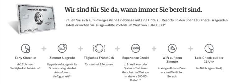 American Express Fine Hotels Vorteile