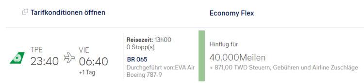 Miles And More Praemienflug Eva Business Class Taipeh Wien