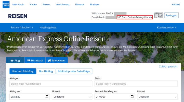 American Express Platinum Reiseguthaben Einloesen