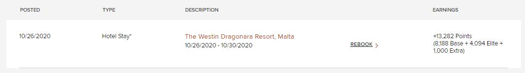 Gesammelte Punkte Marriott Bonvoy Westin Dragonara