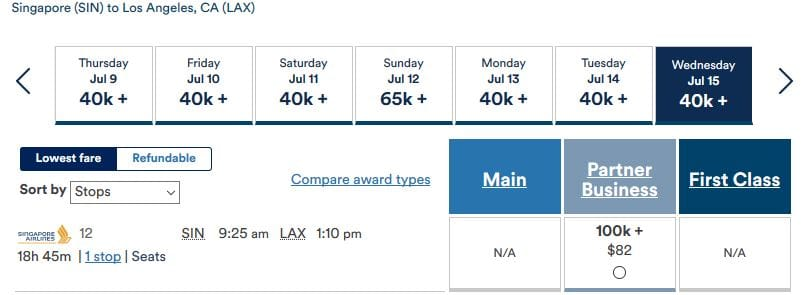 Alaska Mileage Plan Prämienflug Singapore Airlines Business Class Singapur nach Los Angeles